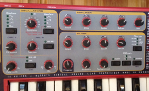 A fixed architecture synth. The oscillators, filters and envelopes are pre-connected.