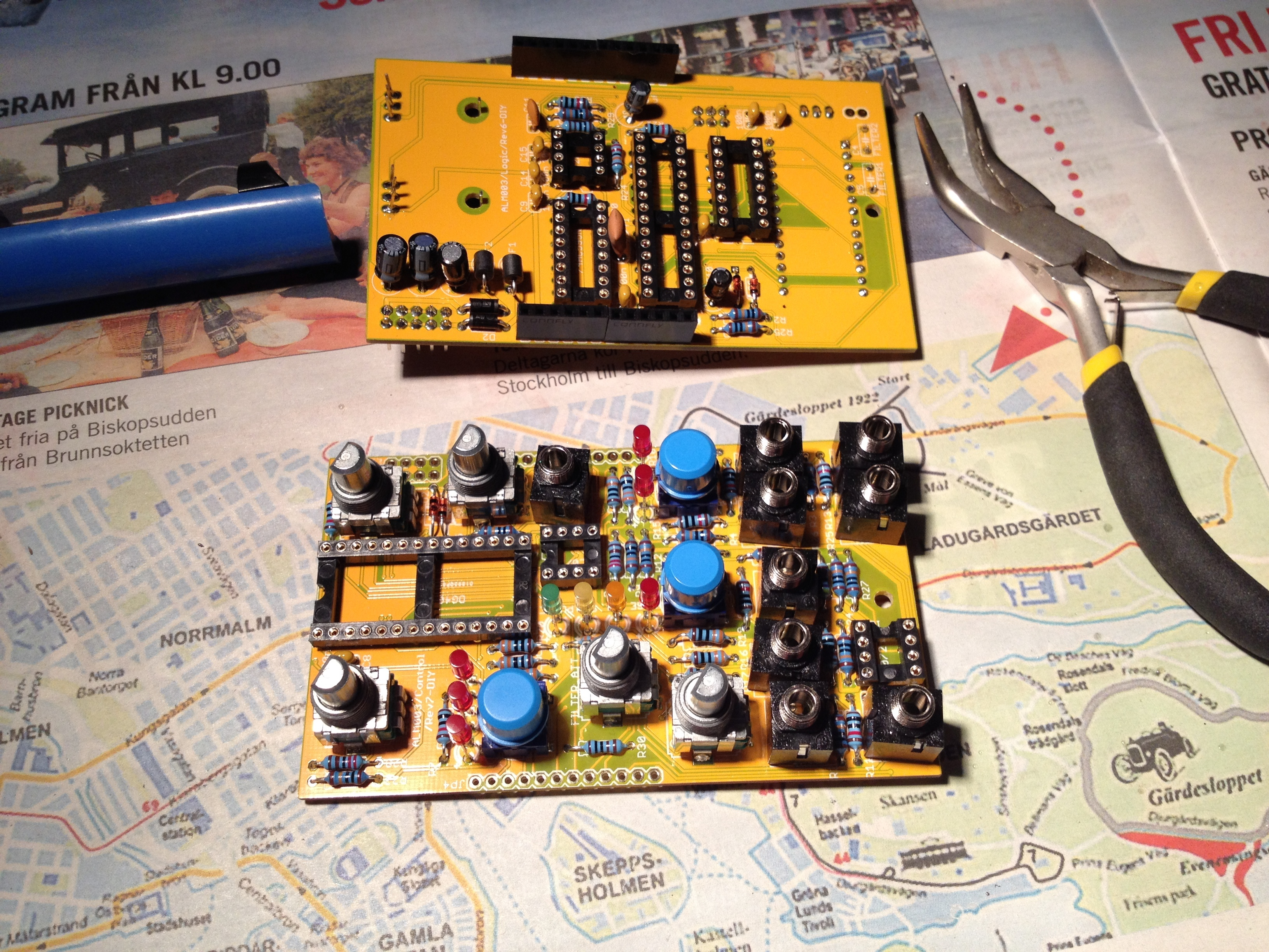 Almost done. Mating the two PCBs should be no trouble at all really...